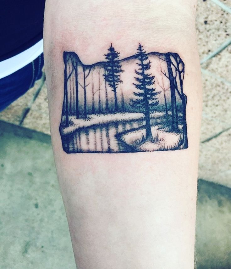 Oregon Tattoo Trees Art, I'm in love with this tattoo! I get complements on it daily!
