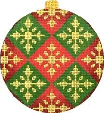 Melissa Shirley Designs | Hand Painted Needlepoint | New Designs, red & green Christmas ornament