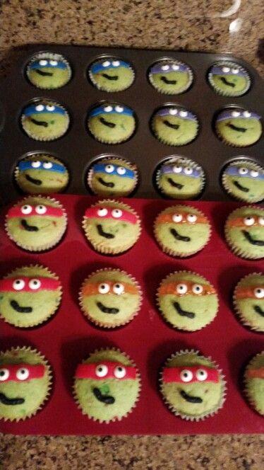 Teenage mutant ninja turtle cupcakes. 6 year old son's ...