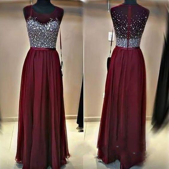 Burgundy Beading Charming Prom Dresses, Floor-Length Evening Dresses,Prom Dresses,XC25
