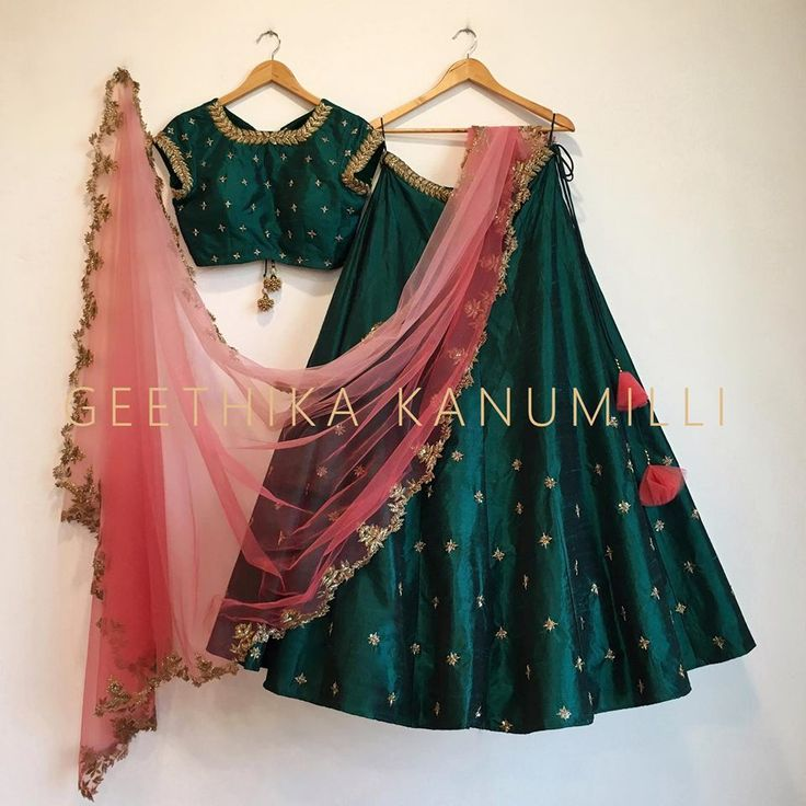 How beautiful is this bottle green lehenga by Geethika Kanumilli. #Frugal2Fab