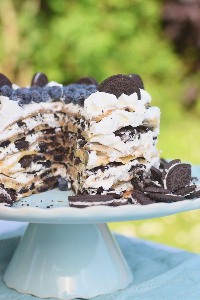 Oreo Blueberry Crepe Cake #oreo #cake #blueberries