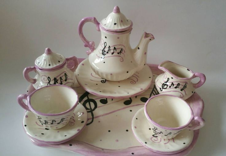 Child Sized Music Tea Set in Purple and Black, Tea Party,  Custom Tea Set, Kid Sized Music Tea Set - pinned by pin4etsy.com