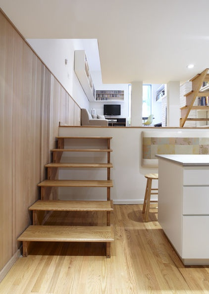Loving This Space Step Up To Mezzanine Level Maybe T V Area With Bedroom Another Step To 2nd Floor With Bedrooms Contemporary Living Room By