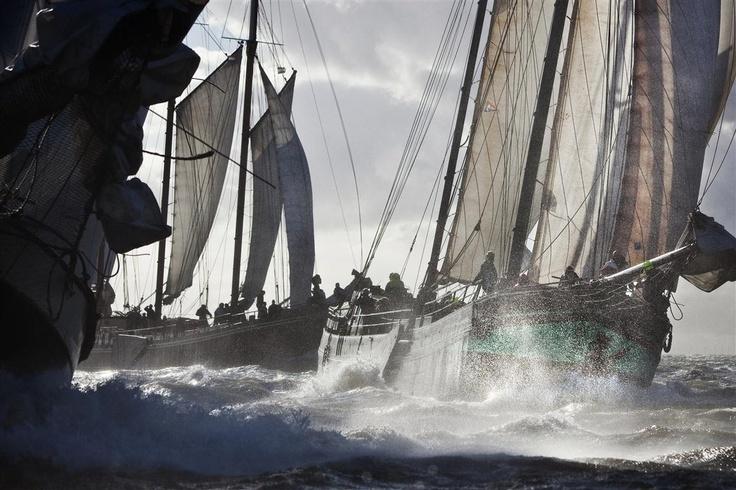 Zeilcharterschepen in actie op de Waddenzee.