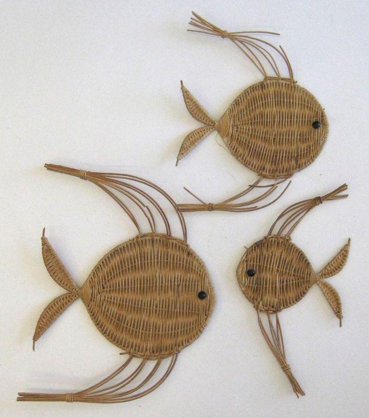 Vtg середине столетия Тканые Морской Тропические рыбы стены искусства Скульптура Мемориальные доски Эймс | eBay