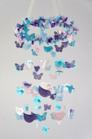 Nursery Mobile- Blue, Pink, Purple Birds & Butterflies- Nursery Decor, Baby Shower Decor by Khandiie