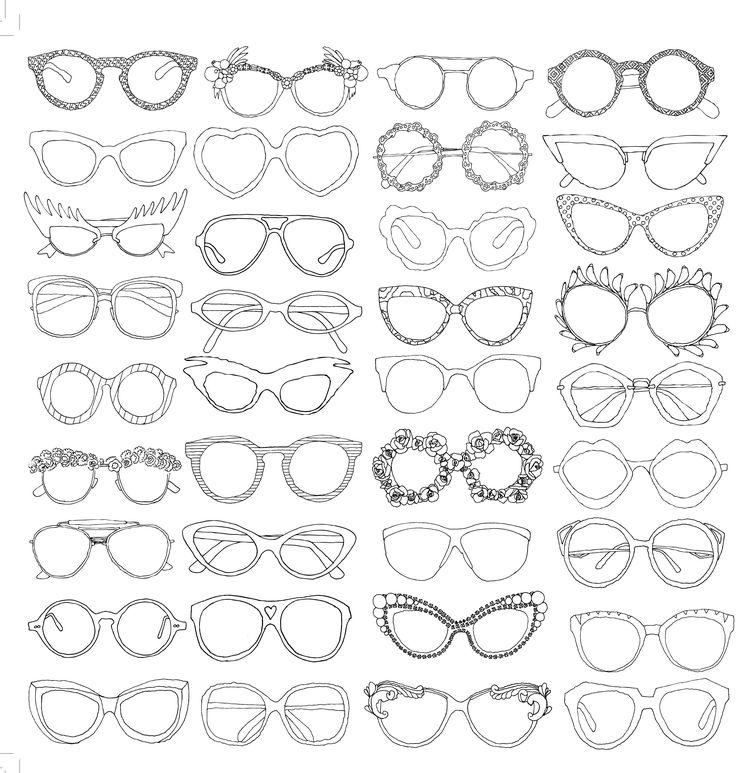 lunettes glasses coloriage adulte anti stress paris fashion adult coloring