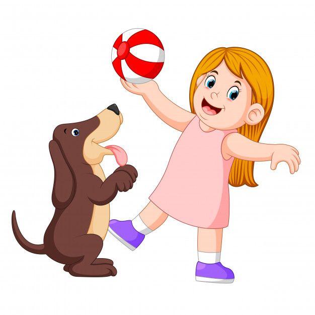 Nina Jugando A La Pelota Con El Perro Ve Premium Vector Freepik Vector Amor Ninos Jugando Nino Jugando Dibujo Dibujos De Perros