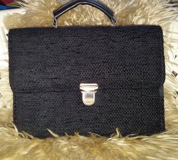 Hard black JW service bag in black fabric by Handbagemma on Etsy
