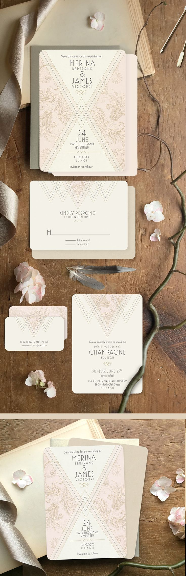 These oh-so Art Deco wedding invitations will surely add a unique spark to your big day! They can accommodate your custom wording and the subtle color accent can be changed to suit your big day. Available in a full wedding suite including invitations, menu's, hand fans, thank you's and Save the Dates.