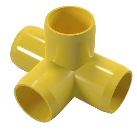 PVC Pipeworks 1/2 inch 4-Way PVC Furniture Grade Fitting in Yellow - Side Outlet Tee (4-Pack)