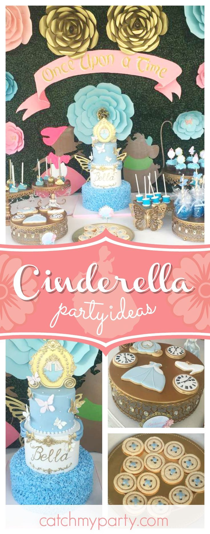 Feel like the belle of the ball with this incredible Cinderella birthday party! The birthday cake is amazing!!  See more party ideas and share yours at CatchMyParty.com #cinderella #princess #girlbirthday