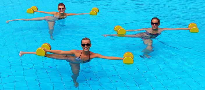 Take some stress off your legs, and head for a pool to try out these exciting water aerobics exercises.