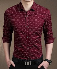 Tiny Letters Print Slimming Shirt Collar Long Sleeve Trendy Cotton Blend Button-Down Shirt For Men
