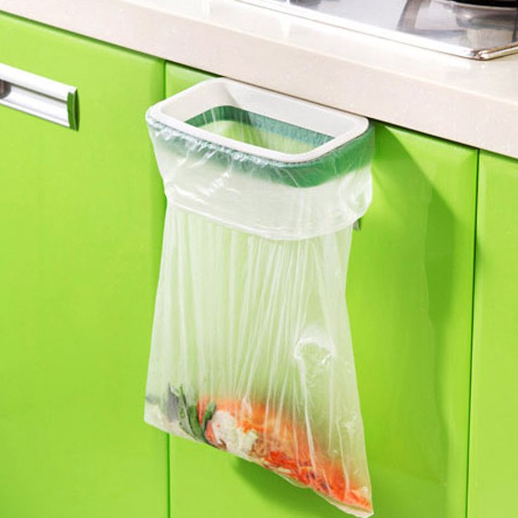 Cupboard Door Back Trash Rack Storage Garbage Bag Holder Hanging Kitchen Cabinet Hanging Trash Rack 12.5*22cm