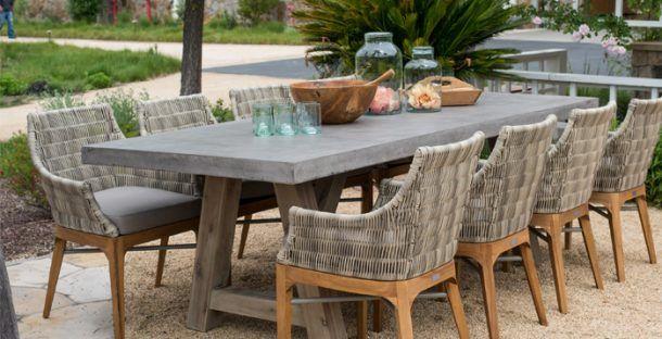 Concrete Outdoor Dining Table, Concrete Top Patio Table