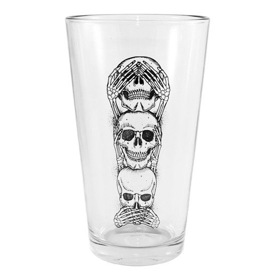 "Hella awesome!..  ""No Evil"" Pint Glass by Inked"