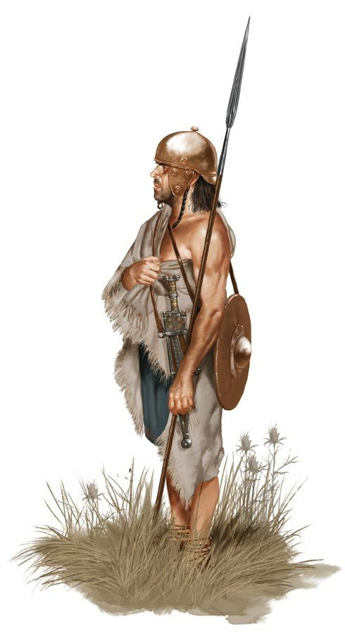 Celtiberian warrior 2nd century BC. These warriors were formidable opponents of both Rome and Carthage. The Carthaginians truly understood the capacity of these tough people and recruited them extensively for their own army.
