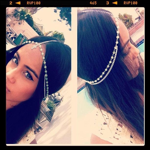 Silver Mint Beaded Cross Head Piece Headdress Gypsy Crown PLEASE note head measurement.  via Etsy.