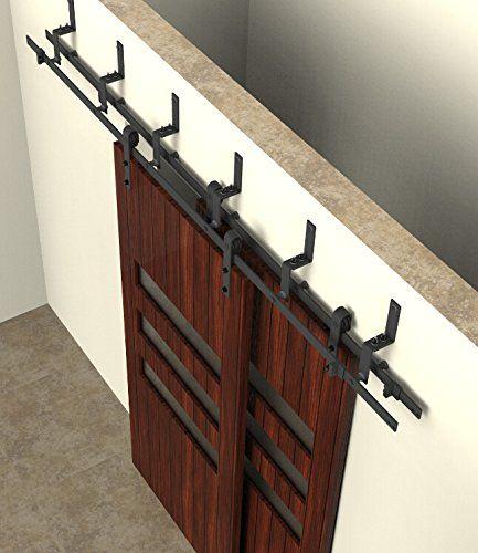 Double Track Bypass Sliding Barn Door Hardware Kit W/ 8 Ft Track For 2 Doors