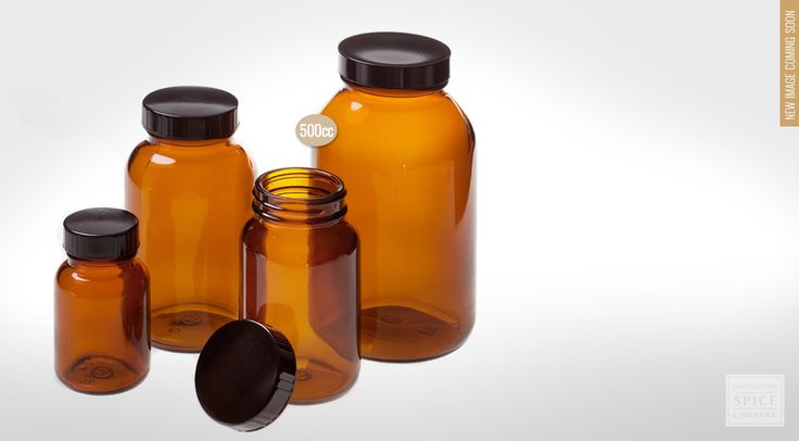 Wide mouth amber bottle w/ lid, 500cc