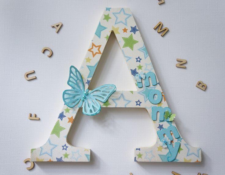 Letra decorada con la técnica de scrap  http://baqui-mirincon.blogspot.com.es/2014/08/letras-decoradas-mama-y-sus-patitos.html#comment-form
