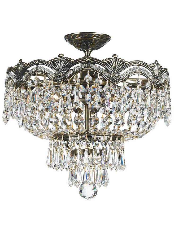 Majestic semi flush crystal ceiling light in historic brass finish