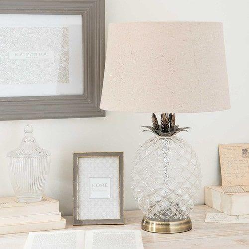 Ananas-Lampe aus Glas mit beigem Lampenschirm MALP