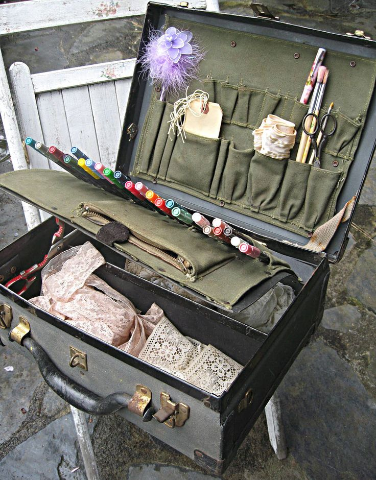 Vintage suitcase, artists supplies suitcase, portable art studio....