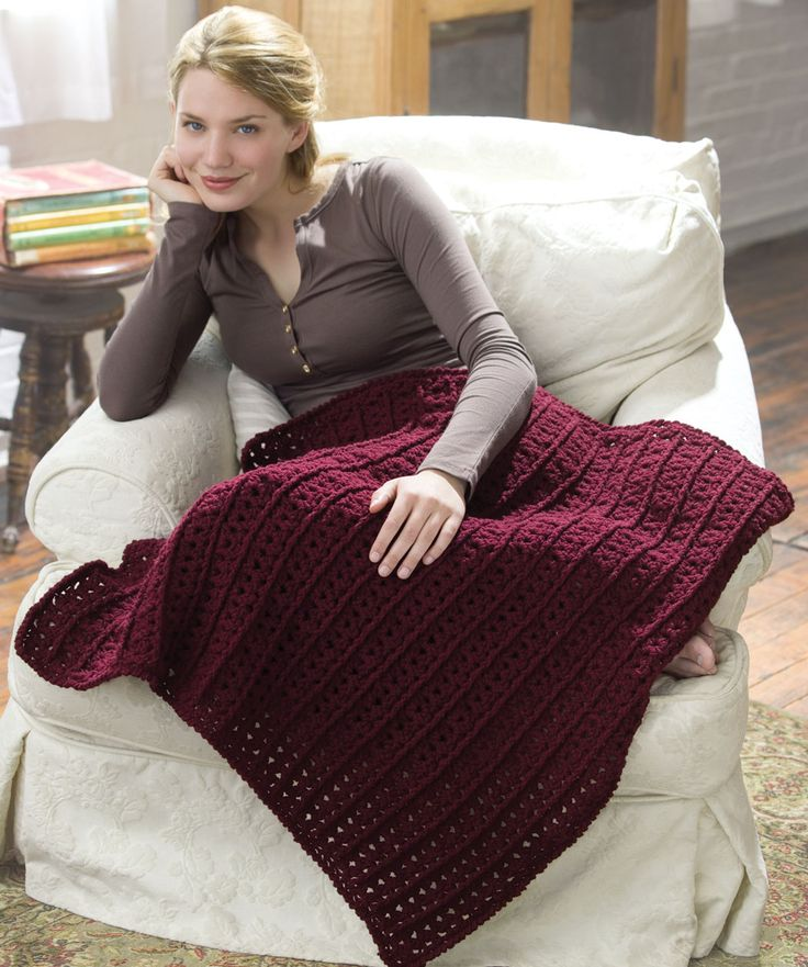 Crochet One-Skein Lap Throw  http://www.redheart.com/files/patterns/pdf/LW1625.pdf  Used this pattern to make a black rectangular shawl for myself. Really like the texture of the stitch.