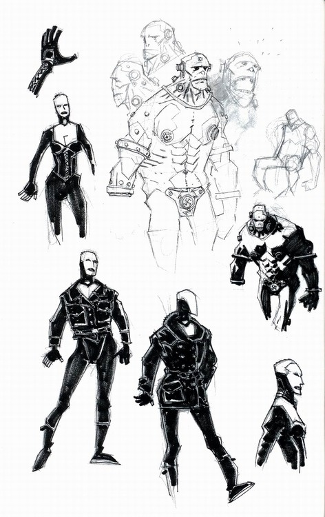 Mike Mignola's sketchbook pages from the Hellboy: The Right Hand...