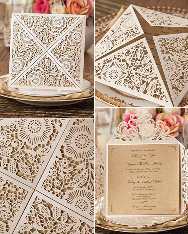 chic rustic elegance laser cut wedding invitations 2015 trends