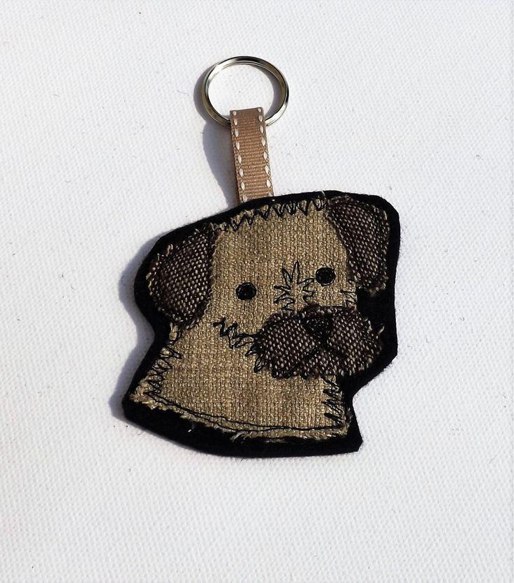 Border terrier keyring, key chain, bag charm, zipper charm by TheDogandtheMoon on Etsy