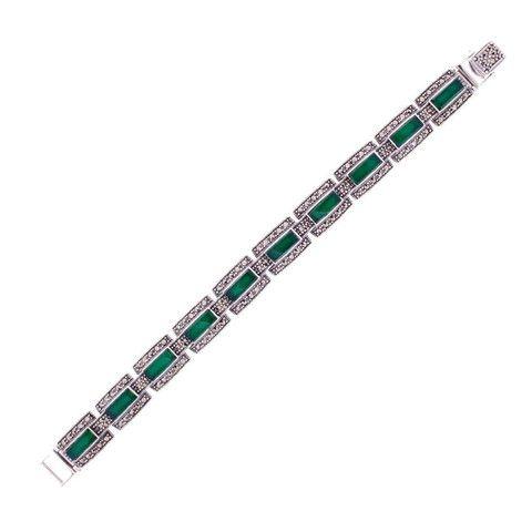 Green Agate Marcasite Bracelet - Chicago Marcasite Jewellery