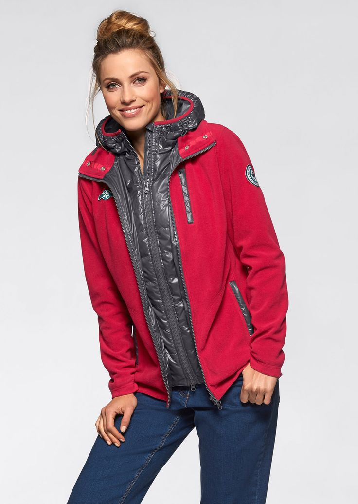 Флисовая куртка 2 в 1, bpc bonprix collection, темно-красный/шиферно-серый
