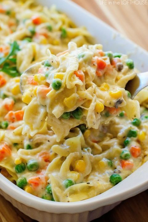 Peas, carrots, and corn givethis classic Chicken Noodle Casserole its fall colors. We don't blame you if you take some for lunch too!