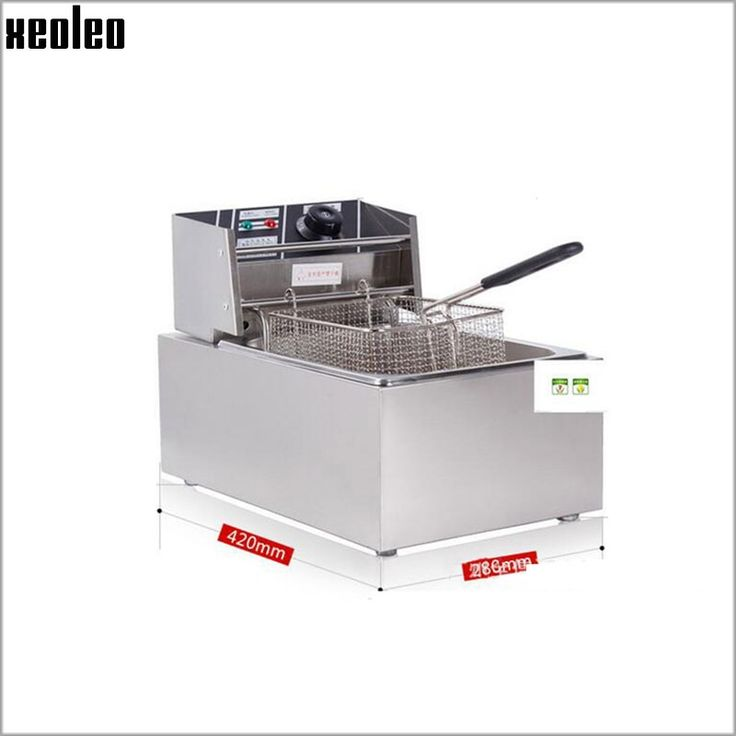 160.00$  Buy here - http://aliy8r.worldwells.pw/go.php?t=32790838578 - Xeoleo Electric Deep Fryer Commercial Electric Fryer 6L Single tank Single basket stainless steel 2.5KW French fries/chicken 160.00$