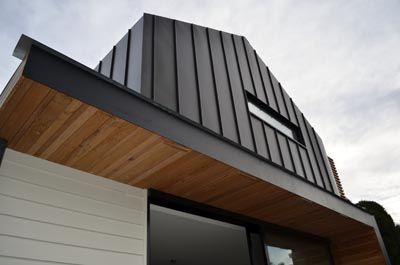 Zinc Nailstrip Cladding and Timber Ceiling