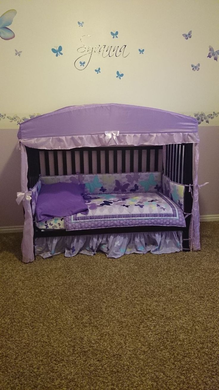 Crib for sale london ontario - Toddler Bed Converted From Crib Found The Cute Canopy At Ross Butterflies And Name Are Vinyl Stickers Cute But Diff Colors Maybe I Can Find A Canopy