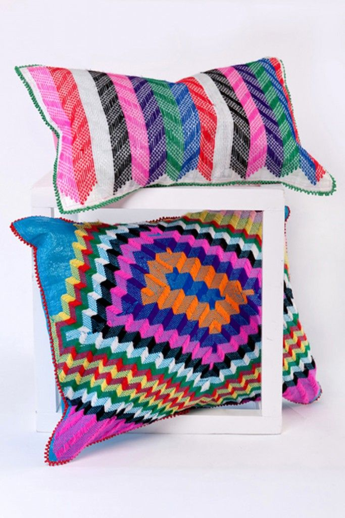 Bright and bold Langazela cushions  Embroidered with wool on recycled corn bags by crafters in rural KZN