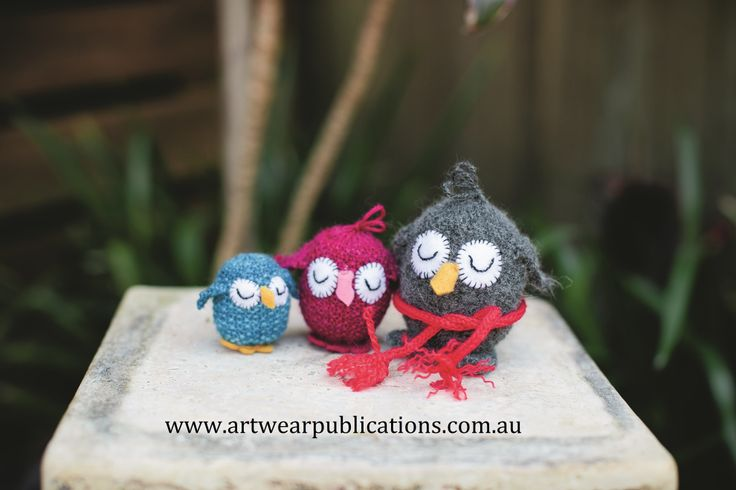 Owl Family by Jenny Occleshaw. A quick knit design using only small quantities of left over sock wool. This gorgeous pattern is featured in Yarn issue 32, available now as a back issue.