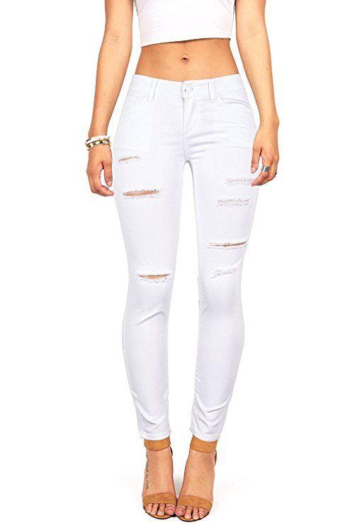 c7fe04fb9f4 Wax Women's Juniors Mid-Rise Skinny Jegging Jeans w Distressing (0, White)