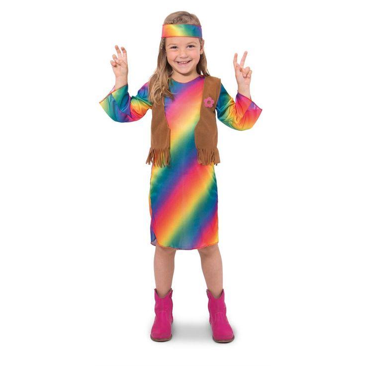 Word een echte hippie met deze vrolijke verkleedset voor meisjes. Het kostuum bestaat uit een jurkje in regenboogkleuren, een gilet met suèdelook en franjes en een vrolijk gekeleurde hoofdband. Het jurkje heeft wijd uitlopende mouwen een een hoge hals. Peace, love en een hoop verkleedplezier! Afmeting: geschikt voor kinderen vanaf 6 - 8 jaar, maat 116 - 134 cm - Verkleedset Hippie Meisje - M