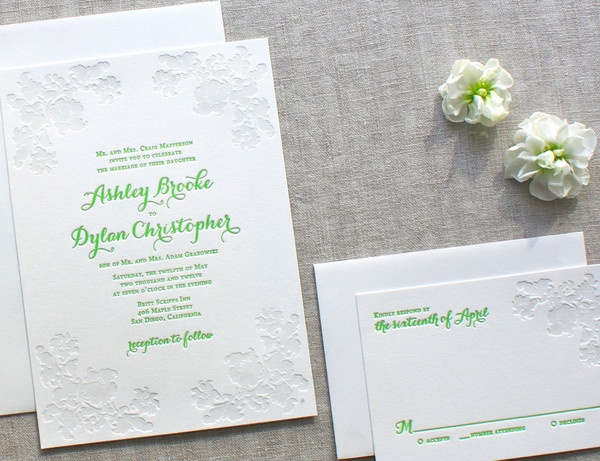 ESSEX invitation suite, www.weheartpaper.com - We Heart Paper, Letterpress, Wedding Invitations, Social Stationery