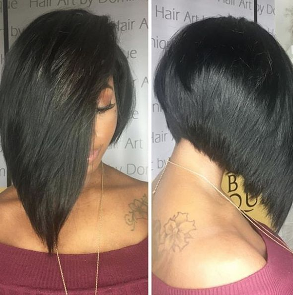 Layered bob haircut for black women. When you need that long cut that adds style to your look. Dope, especially when showing a shoulder tattoo. @hairartbydominique