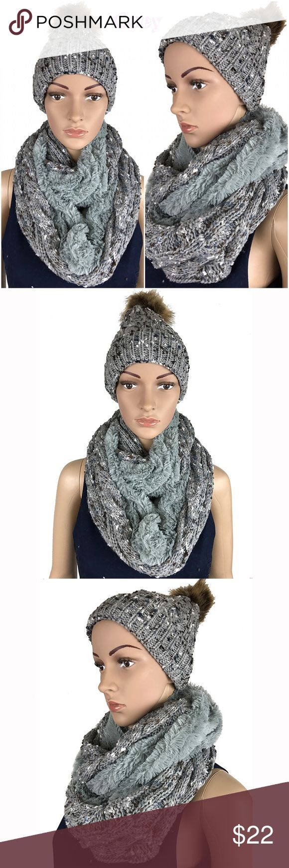 "Knit Infinity Scarf & Beanie Hat Winter Set Grey Material: 100% Acrylic; weight: 14.5 oz Pack Includes: 1 beanie hat and 1 scarf SCARF- Length- 28"" x Width- 10""; HAT- Length- 9"" Width- 8"";  Wrap this infinity loop scarf around your neck twice and the faux fur will keep you warm and comfortable for hours on end. Accessories Scarves & Wraps"