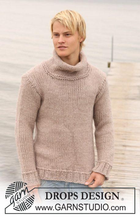 "DROPS Extra 0-695 - Glatstrikket DROPS sweater til herre i ""Eskimo"". Str S-XXXL."
