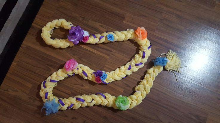 Rapunzel hair made with yarn.