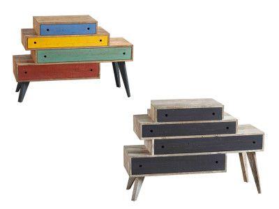 DIALMA BROWN. Cassettiera (DB004000 e DB004001) realizzata in legno vecchio di pino e disponibile in due versioni: con cassetti neri e cassetti multicolor. Prezzo al pubblico per entrambe : € 2.970